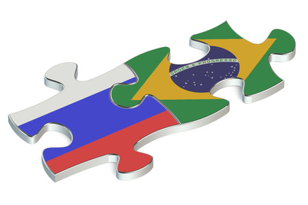 russian federation: Brazil and Russian Federation puzzles from flags
