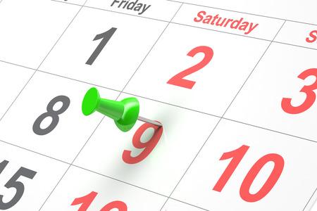 Nahaufnahme Kalender-Seite mit Zeichnung-pin Standard-Bild - 49658270