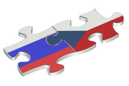 the federation: Czech Republic and Russian Federation puzzles from flags