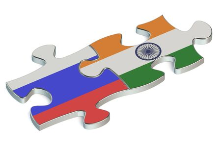 the federation: India and Russian Federation puzzles from flags Stock Photo