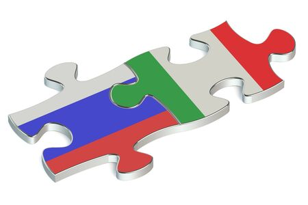 russian federation: Italy and Russian Federation puzzles from flags Stock Photo