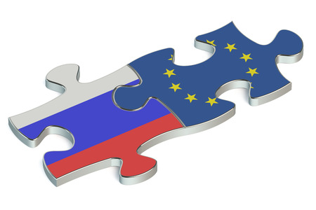 european union: Russian Federation and European Union puzzles from flags