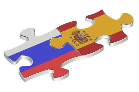 russian federation: Spain and Russian Federation puzzles from flags Stock Photo