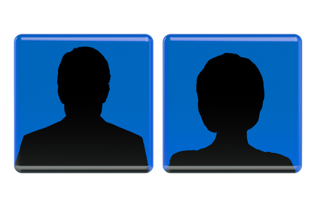 no photo: User avatar icons, women and man  isolated on white background