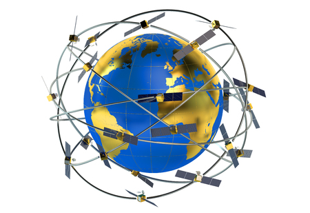 space satellites in eccentric orbits around the Earth Stock Photo