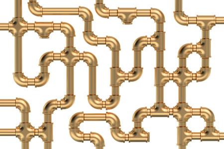 copper pipe: copper pipelines on white background Stock Photo