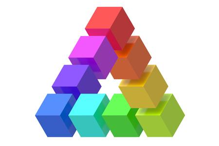 sensory perception: Impossible triangle optical illusion isolated on white background Stock Photo