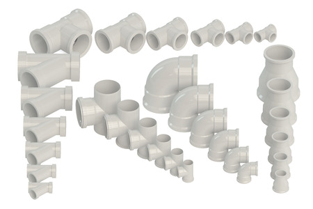 fittings: Set of plastic fittings for water pipeline  isolated on white background Stock Photo