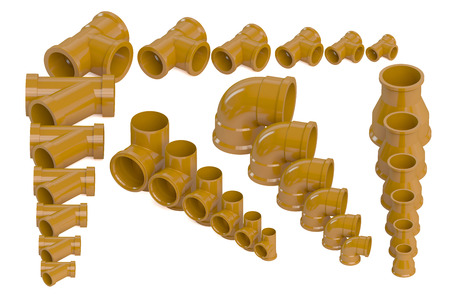 sewer: Set of plastic sewer pipes isolated on white background