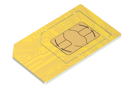 simcard: golden SIM card isolated on white background Stock Photo