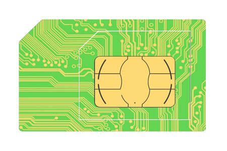sim card: green SIM card isolated on white background Stock Photo