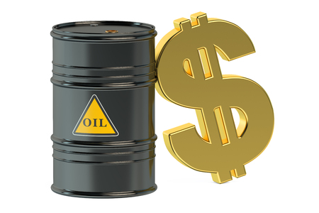 import trade: oil barrel and dollar isolated on white background