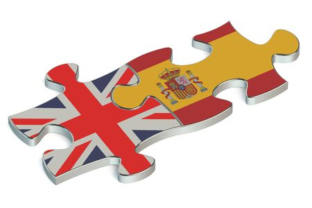 kingdom of spain: Spain and United Kingdom puzzles from flags Stock Photo