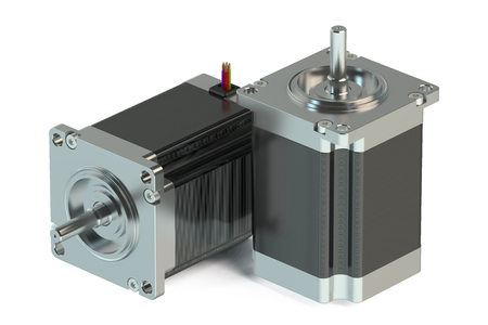 Stepper motors isolated on white background Stock Photo