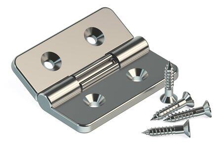 hardware: La bisagra de la puerta con tornillos aislados sobre fondo blanco