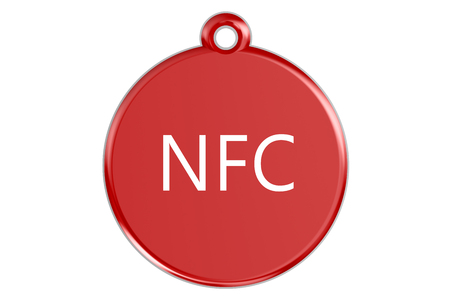 nfc: NFC tag isolated on white background