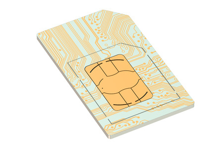 sim card: SIM card  isolated on white background Stock Photo