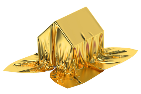 House covered golden fabric Imagens
