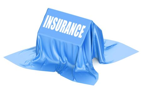 protection concept: House Insurance concept covered blue fabric Stock Photo