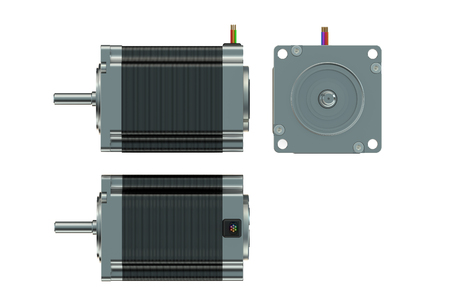 stepper: Stepper motor top, side and front views isolated on white background