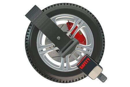 protection concept: Car Wheel Safety concept with safety belt Stock Photo