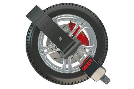 cinturon seguridad: concepto de coche de seguridad de ruedas con cintur�n de seguridad Foto de archivo