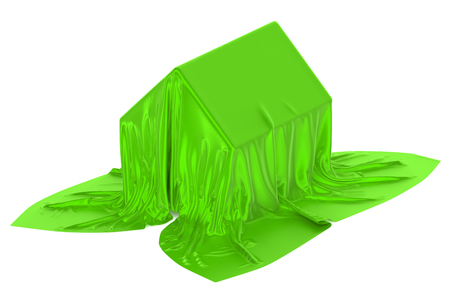 covered: House covered green fabric Stock Photo