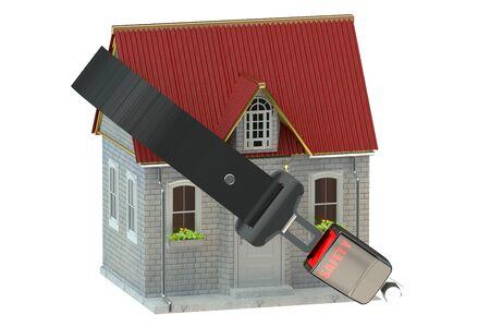 cinturon seguridad: Concepto de la casa de seguridad con cintur�n de seguridad Foto de archivo