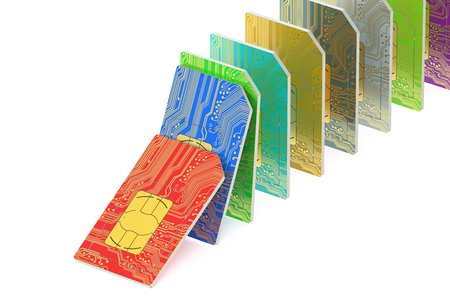 simcard: set of SIM cards  isolated on white background Stock Photo