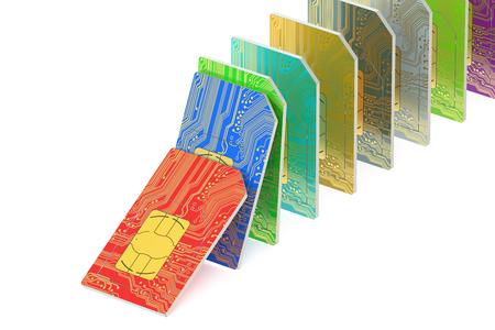 set of SIM cards  isolated on white background Stock Photo
