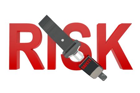 cinturon seguridad: El concepto de riesgo con cintur�n de seguridad aisladas sobre fondo blanco Foto de archivo