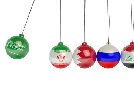iran: Saudi Arabia, Iran, Bahrain, Russia and Iraq political conflict concept Stock Photo
