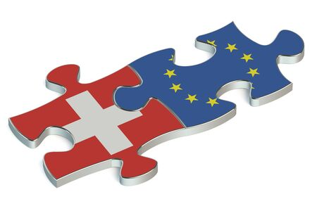 european union: Switzerland and European Union puzzles from flags Stock Photo