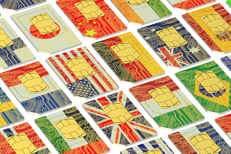 International SIM cards with flags isolated on white background