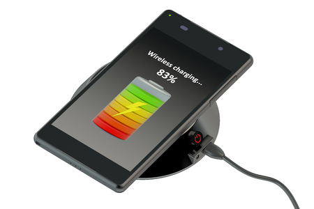 wireless connection: Wireless charging of smartphone isolated on white background