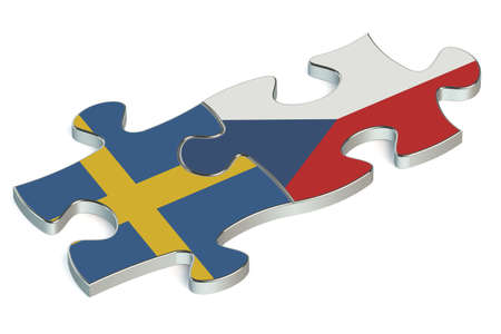 the czech republic: Czech Republic and Sweden puzzles from flags Stock Photo