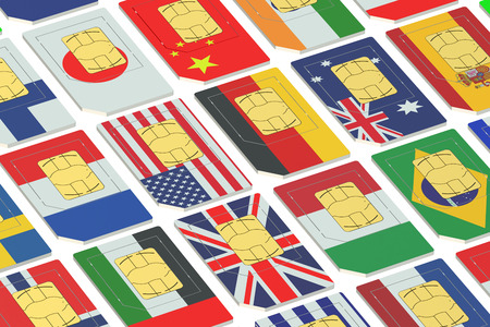 simcard: International SIM cards with flags isolated on white background
