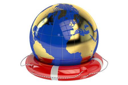 save environment: Globe and Lifebuoy isolated on white background
