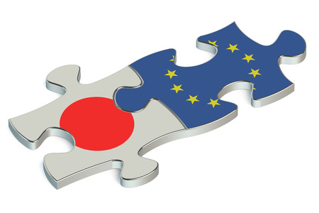 EU and Japan puzzles from flags Stock Photo