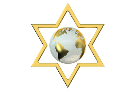 israelite: Star of David with Earth isolated on white background