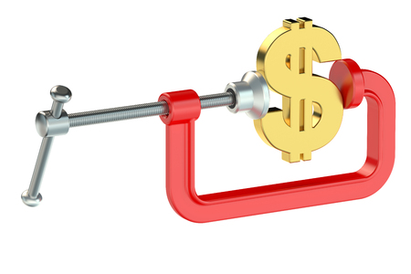clamp: dollar with clamp isolated on white background
