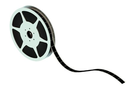 filming: film reel isolated on white background