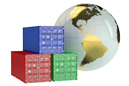 import trade: Global cargo shipping concept isolated on white background