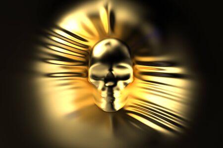 hidden danger: human skull pressing through golden fabric