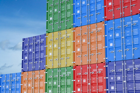 cargo containers isolated on the blue sky