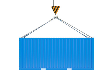 seafreight: Crane hook and blue cargo container  isolated on white background Stock Photo
