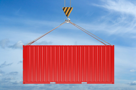 seafreight: Crane hook and red cargo container on sky background