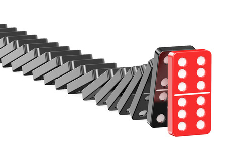 domino effect: domino, leader concept isolated on white background