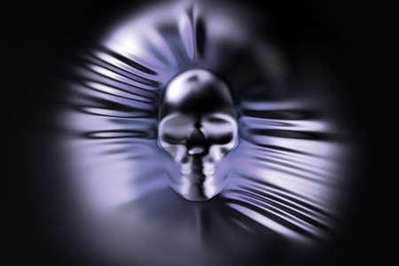 pressing: human skull pressing through fabric Stock Photo