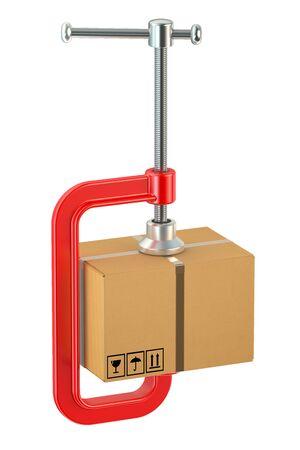 menace: cardboard box in the clamp Stock Photo